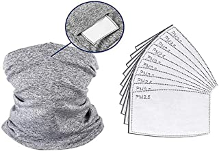QKWSUGER 1 Pack Neck Gaiter Scarf Stretchable Neckerchief With 10 Pack PM2.5 Activated Carbon Filter for adult Sun Dust Pr...