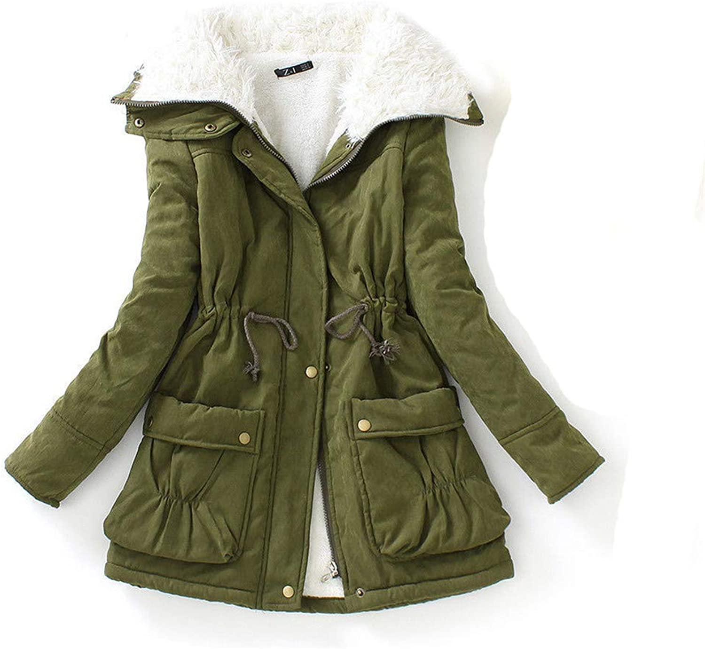 BiBOONES Winter Women's Slim Snow Jacket with Long Warm Cotton Coat