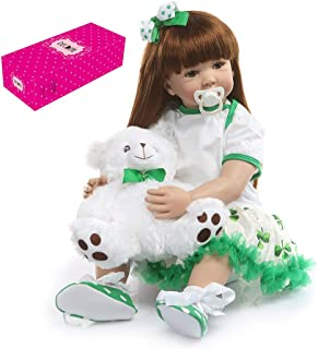 Docooler Decdeal Lifelike Reborn Baby Doll 24 inch Big Size Silicone Rebirth Dolls Soft Touch Dolls for Children Kids Toddlers Birthday Gifts with Four-Leaf Clover Dress