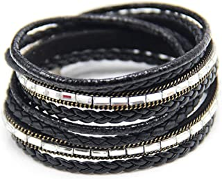 Helloblack Multilayer wrap Bracelet Women with Clear Glass Stones Paving Magnetic Clasp Bracelet Summer Jewelry