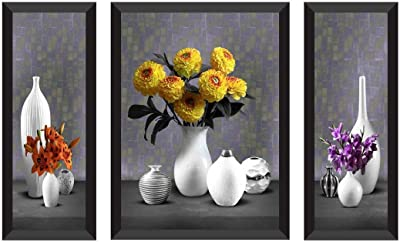 SAF UV Textured Flower Print Framed Painting Set of 3 for Home Decoration (Synthetic, 28.5 inch x 19.5 inch, Set of 3) SANFSAA7478L