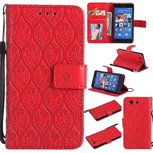 Lomogo Sony Xperia Z3 Compact Hülle Leder, Schutzhülle Brieftasche mit Kartenfach Klappbar Magnetverschluss Stoßfest Kratzfest Handyhülle Case für Sony Xperia Z3 Compact (4,6 Zoll) - LOYYO23562 Rot