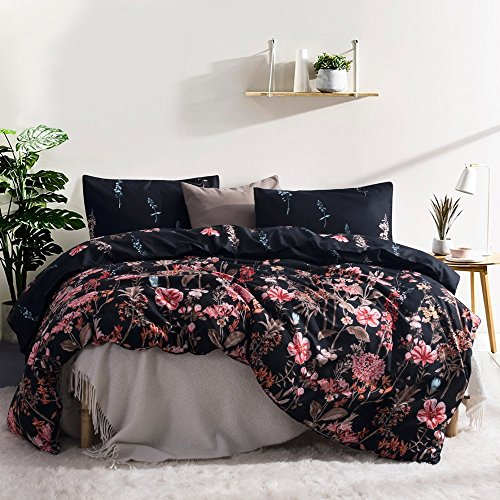 Leadtimes Floral Bedding Set Queen Black Flowers Boho Duvet Cover Set with 90X90 Duvet Cover and 2 Pillowcases (Queen, Style8)
