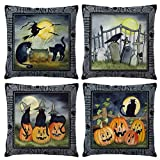 ULOVE LOVE YOURSELF Black Halloween Decor Throw Pillow Covers Pumpkin/Witch/Cat/Crow Element Happy Halloween Decorations Cushion Covers Pillowcases 18 x 18 Inches,Set of 4
