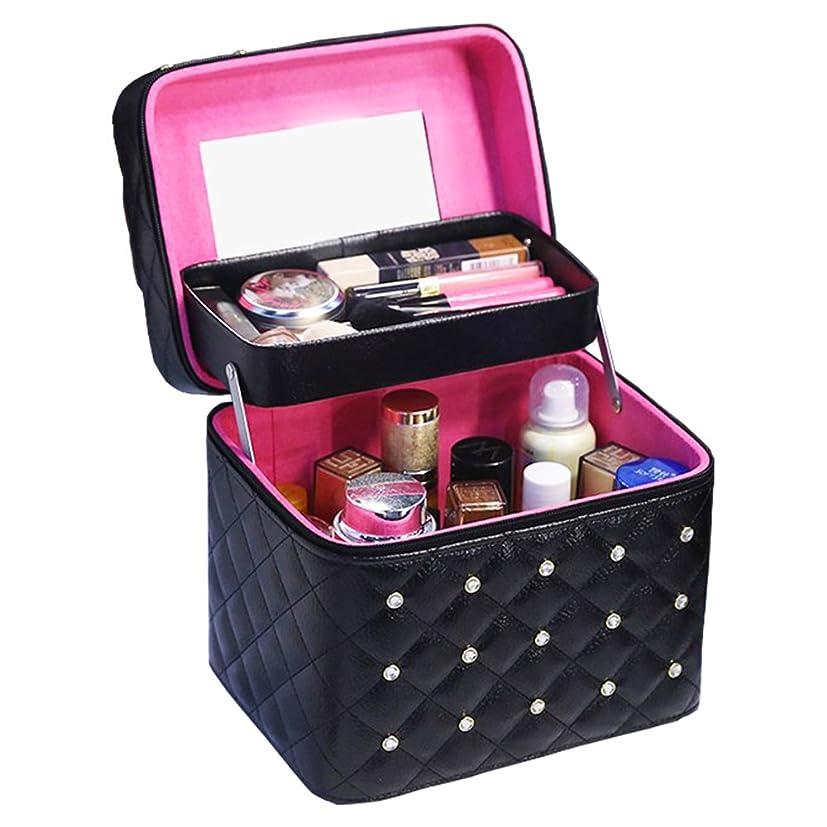 基礎行動着陸Twinkle goods (ツインクルグッズ) メイクボックス コスメボックス 化粧品 収納 PUレザー お洒落なデザイン メイク道具をすっきり収納 携帯にも 2段タイプ