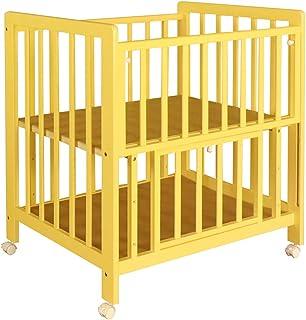 ミニベッド ミニベビーベッド あわイロ 天然木 シンプルデザイン スライド式 キャスター 3段階調節 たっぷり床下収納 あわいイエロー