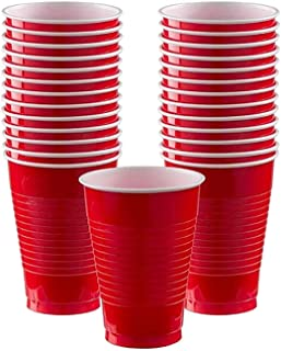Party Tableware Red Solid Color Party Set Plastic Plate Cup Tablecloth Birthday Party Wedding Decoration For 10 People (Co...