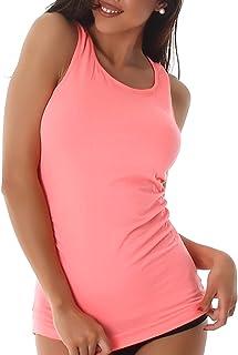 Träger-Top Feinripp T-Shirt Tanktop Sommer  Einheitsgröße 32 34 36 neonpink pink