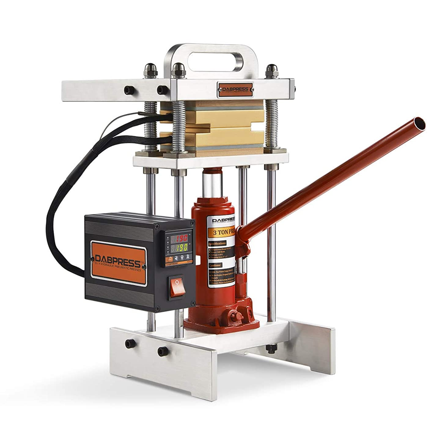 3 Ton Hydraulic Jack Heat Press | dp-bj3t33 | 3x3 Inch Anodized Heat Press Plates | 500 Watts | Dual Heating Machine | Accurate Temp Detected