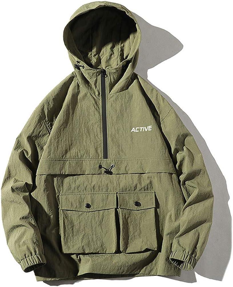 COTZFOZ Hip Hop Jacket Mens Hooded Windbreaker Jacket Autumn Hoodie Jacket Coats Streetwear