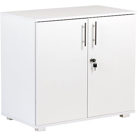 Armoire de Rangement de Bureau avec 2 Portes Blanc Hauteur 73 cm