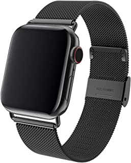 ENANYN Watch Band Compatible with Apple Watch Band 38mm 40mm 42mm 44mm Stainless Steel Replacement Band for Watch Series 1/2/3/4 (Black, 42mm/44mm)