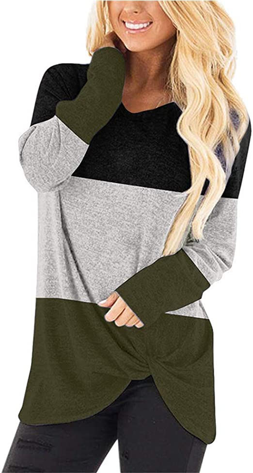 DKKK Women's Round Neck Long Sleeve Color Block Casual Loose Tunic Shirt Blouse Top with Tie