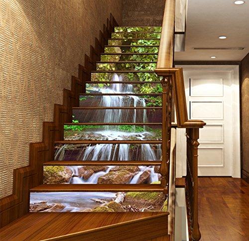 3D Wasserfall Blatt Wasser 504 Stair Risers Dekoration Fototapete Vinyl Aufkleber Tapete DE Lemon (15x H:18cm x W:102cm (7