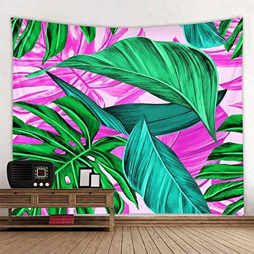 KHKJ Tapiz de Mandala con Estampado de Hoja de Planta, Tapiz psicodélico para Colgar en la Pared, tapisserie Bohemio, Alfombra de Pared Floral, Toalla de Playa A2 95x73cm