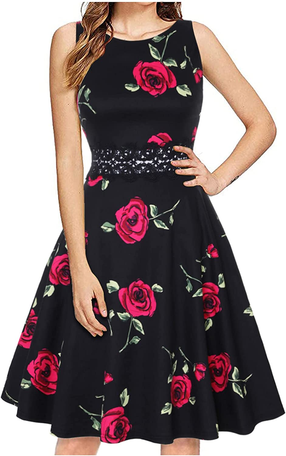 Aqestyerly Women's Summer Dresses Sleeveless Cocktail A-Line Embroidery Party Summer Wedding Guest Swing Dress