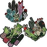 3D-Kaktus-Aufnäher, bestickt, zum Aufbügeln, Blumen, Parches, Stickerei, Applikation für Kleidung, Jeans, T-Shirts, Patchwork, Abzeichen, 3 Stück