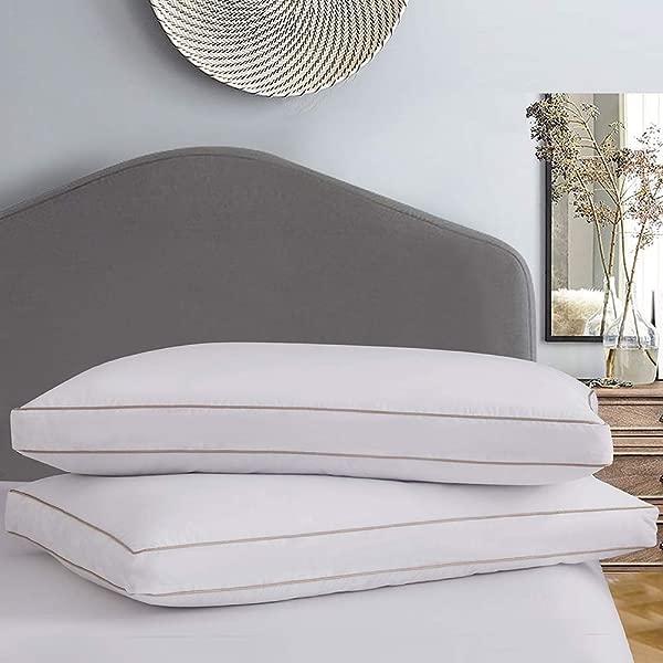 Ubauba 鹅毛羽绒枕头 2 只装酒店收藏靠枕睡枕插片带棉质枕套酒店三角垫床枕头 2 只装大号