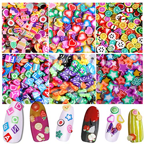 MWOOT 3000+ Pcs Cute Nail Art Slices,3D Assorted Nail Art Slices Decals with Fruit Letters Hearts Butterfly Stars Candy Cake Pattern for Nail Art Decoration