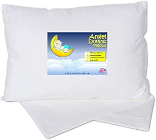Angel Dreams Toddler Pillow 14x19 with Pillowcase - Soft Kids Pillows for Sleeping - Made in USA - Perfect for Travel, Toddler Cot, Bed Set - Hypoallergenic - Toddlers, Infant, Baby.