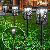 Upgrade Solar Lights Bright Pathway Outdoor, IP65 Waterproof Landscape Path Light, LED Spotlights Outside Wireless Solar Powered Lamp for Garden, Lawn, Patio, Walkway, Driveway, White Lighting, 4 Pack