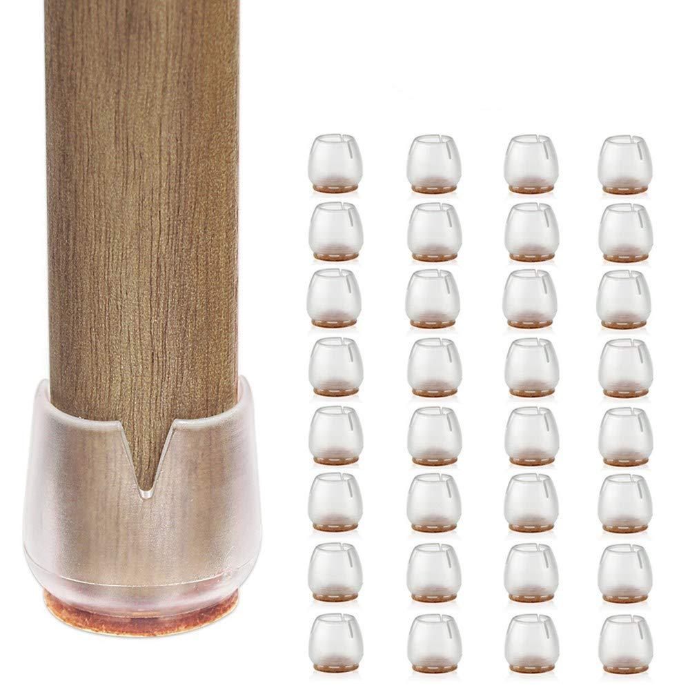 VABNEER 32 Pcs 25-29mm Transparente Silla Leg Caps Silicona Almohadillas de Silla pies Pads con Almohadillas de Fieltro Antideslizantes para Patas Redondas de la Silla
