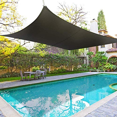 SUNY Voile D'ombrage Rectangulaire HDPE Respirant Anti UV pour Jardin Terrasse Balcon, Noir,3.6x3.6m