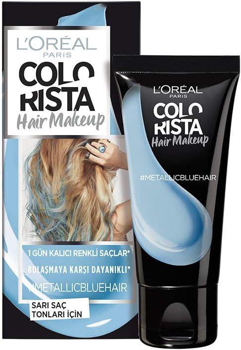 Colorista - Maquillaje de pelo rubio temporal, color azul metálico