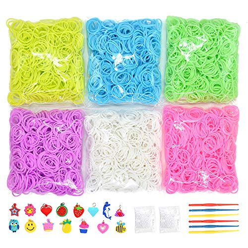 VICOVI 3700+ Colorful Rubber Bands Glow in The Dark Set Included: 3600+ Premium Quality Loom Bands in 6 Colors + 100 S-Clips + 15 Lovely Charms + 6 Crochet Hooks, No Loom Board Included.