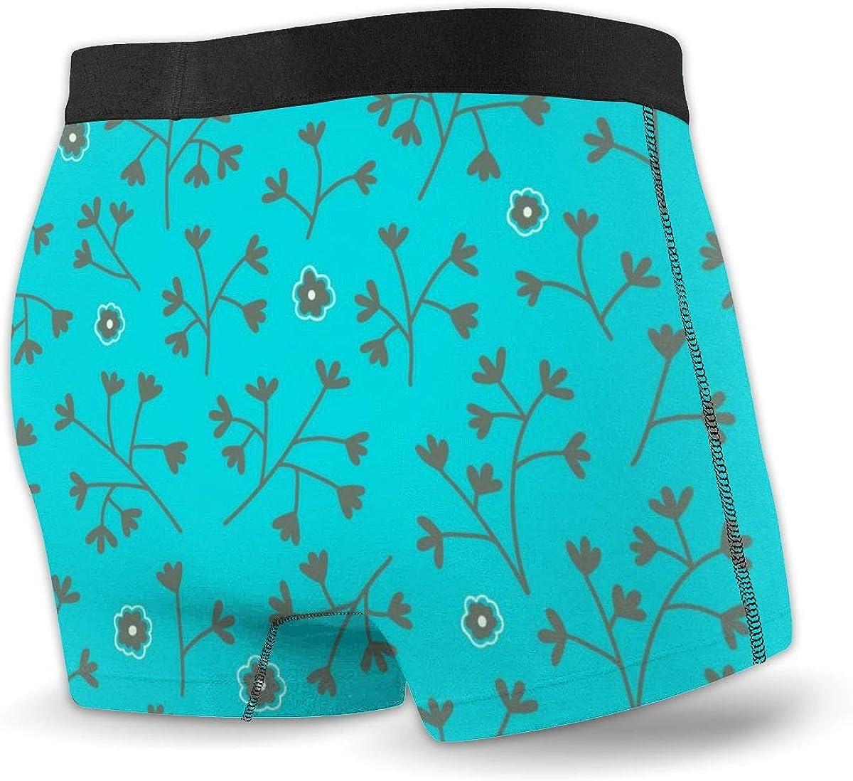 Randolph Wordsworth Mens Boxer Briefs Turquoise Blue Small Flowers Boys Trunks Underwear Short Leg Breathable Man