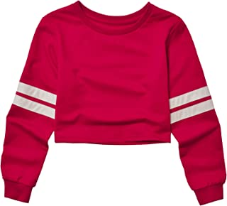 Cropped Sweatshirt for Women Crop Tops Long Sleeve Striped Loose Pullover