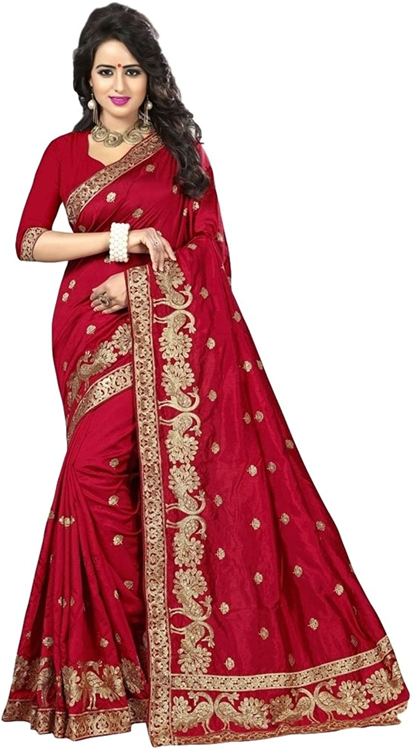 EthnicWear Exclusive Maroon Art Silk Festival Wedding Women Embroidered Zari Saries Saree Saris