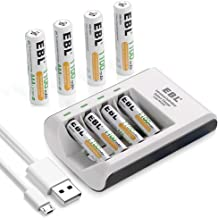 EBL Pack of 8 AAA Batteries 1,100mAh AAA Rechargeable Battery with Smart C807 Battery Charger and Micro USB Cable