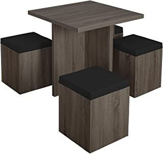 Simple Living 5-piece Baxter Dining Set with Storage Chair One (1) Table, Four (4) Storage Ottomans Black Grey
