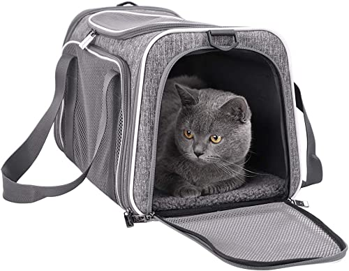 petisfam Pet Carrier for Medium Cats and Small Dogs with Washable Cozy Bed, 3 Doors and Shoulder Strap. Easy to get c...