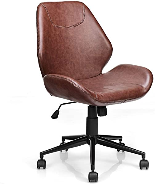 Giantex Home Office Leisure Chair Ergonomic Mid Back PU Leather Armless Chair Upholstered With 5 Rolling Casters Height Adjustable Swivel Chair