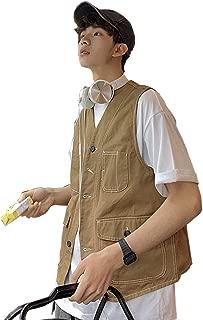 XXT Pocket Vest Cotton Men's Sports and Leisure Multi-Pocket Vest Practicality (Color : Khaki, Size : XL)