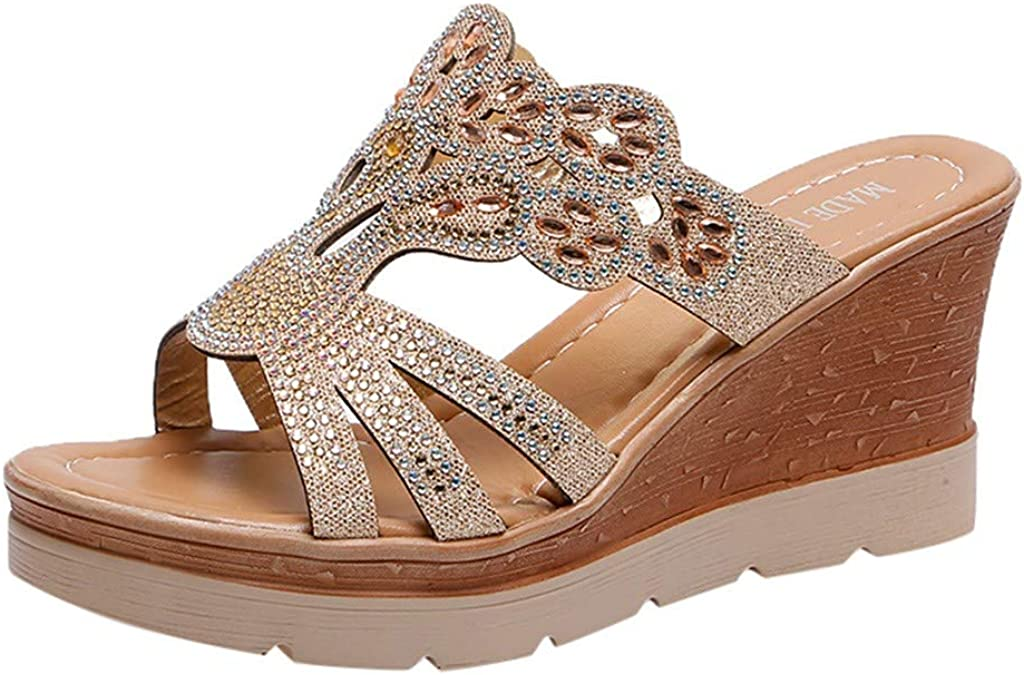 Wedge Sales of SALE items from new works Sandals for Women Ladies Wedges Crystal Thi Bohemia Max 46% OFF