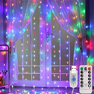 300 LED 3M curtain string led lights for room with 8 modes,Timer & Remote control,Christmas decorations indoor bedroom lights icicle,Wedding Party Home Garden Patio Outdoor Wall Multicolor USB Powered