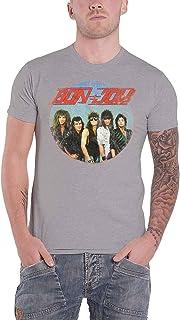 Bon Jovi T Shirt Band Shot Heavy Wash Vintage Logo 新しい 公式 メンズ グレー