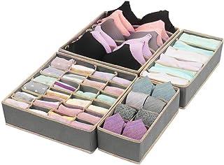 IWILCS 4 Pcs Organisateur de Tiroir, Boîte de Rangement Pliable, pour sous-vêtements, Soutien-Gorge, Chaussettes et Slip G...