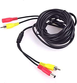 Car RCA DC Audio Video AV Extension Cable for CCTV Security, Truck Bus Trailer Reverse Parking Camera (5 Meters/16 Feet) -...