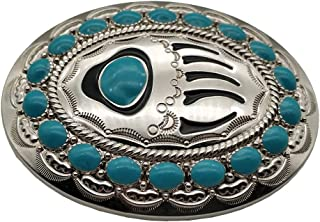 Native American Turquoise Bear Paw Belt Buckle