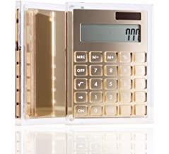 $24 » Clear Gold Acrylic Solar Power Calculator (White Button) by Draymond Story - Home Office Desktop Calculator (12-Digit) - Business Gift Ideas