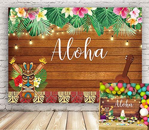 BINQOO - Telón de fondo para fiesta de Aloha Luau de 7 x 5 pies, diseño de flores de Tiki hawaianas tropicales de madera para cumpleaños, verano, fin de semana, carnaval, fiesta, playa,