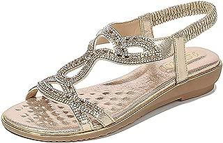 Wollanlily Women's Summer Beach Flat Sandals Bohemia Casual Rhinestone Flip-Flop T-Strap Thong Shoes
