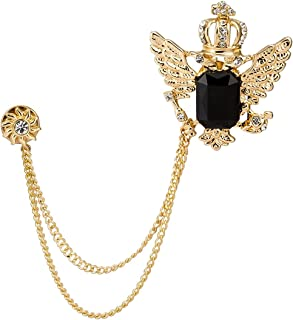 Golden Crown with Wing and Black Stone Sunshine Hanging Chain Brooch Golden