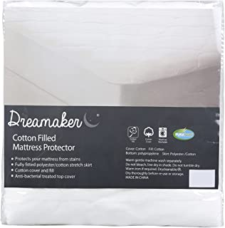 Dreamaker 180gsm Cotton Filled Mattress Protector   Anti-Bacterial Treated, Comfortable, Easy Care, Machine Washable   Sof...