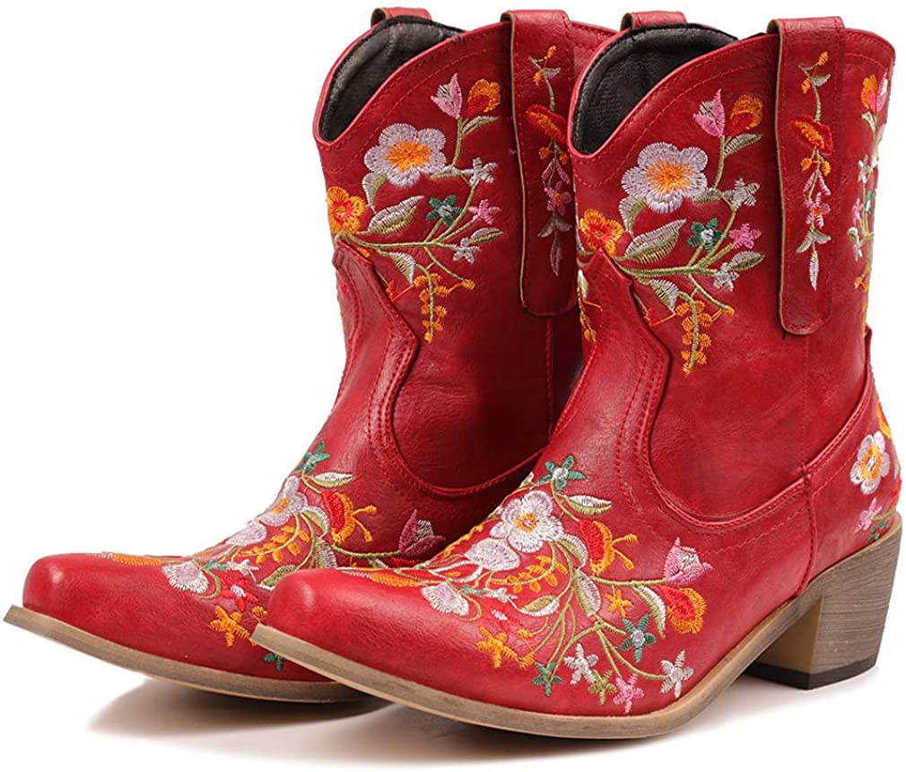 heelchic Women Year-end gift online shopping Vintage Flower Embroidered Cowgirl Boots Sh Retro