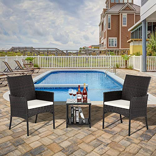 Outdoor Patio Garden Faux Wicker Rattan Chair with Cushion, Two Chairs with Glass Top Coffee Table Conversation Sets for Balcony Backyard Porch Poolside Lawn - 3-Piece Set, Brown